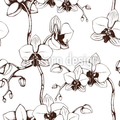 Orchid Bloom Seamless Vector Pattern