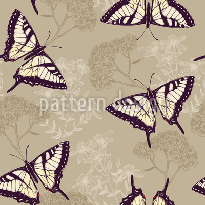 Herbs And Butterflies Pattern Design