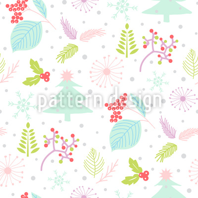 Nature In Winter Vector Pattern