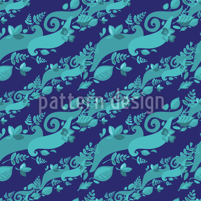 Leaves On Waves Seamless Pattern