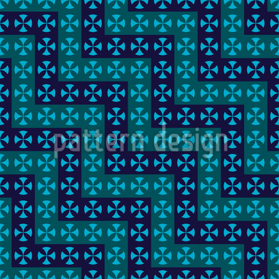 Crossing Waves Seamless Vector Pattern