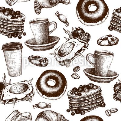 Breakfast Menu Seamless Pattern