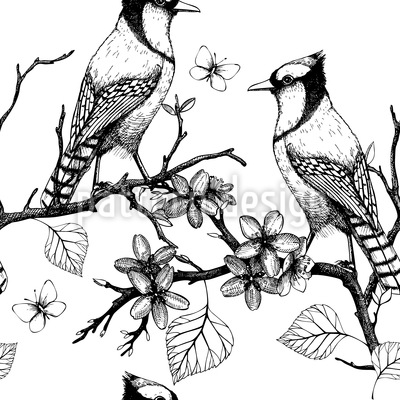 Birds On Branches Repeat Pattern