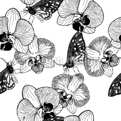 Orchid And Butterfly Seamless Vector Pattern