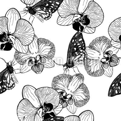 Orchidee und Schmetterling Nahtloses Vektor Muster