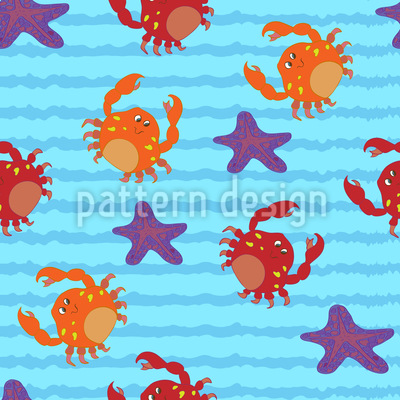 Swimming With Crabs Pattern Design