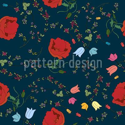 Floraler Mix Nahtloses Vektor Muster