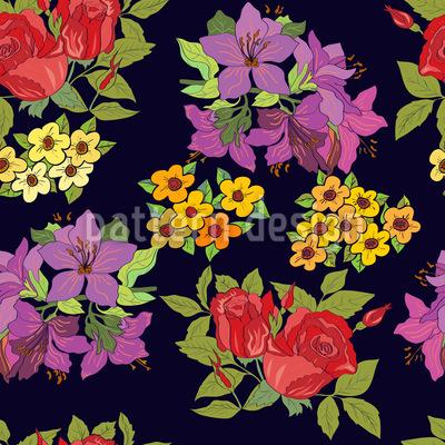 Wähle Eine Blume Nahtloses Vektor Muster