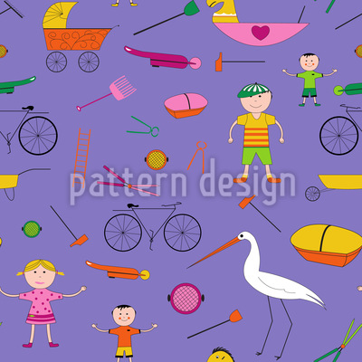 Hustle and Bustle of Children Repeat Pattern