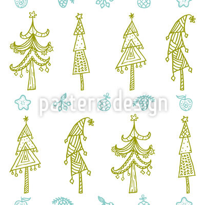 Verzierte Bäume Vektor Muster