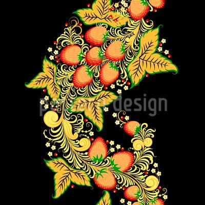 Khokhloma Swirls And Berries Seamless Vector Pattern