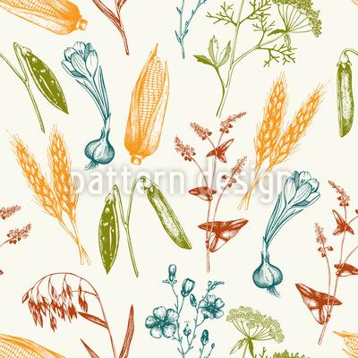 Vintage Harvest Vector Pattern