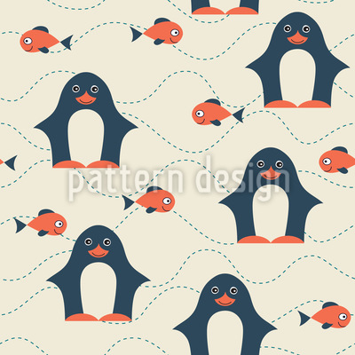 Happy Penguin Repeating Pattern