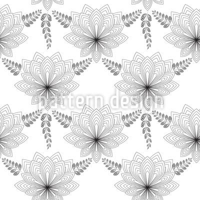 Art Deco Blume Nahtloses Vektor Muster
