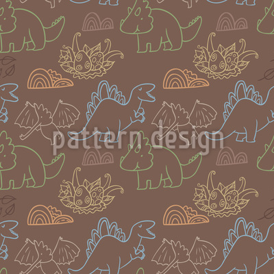 Dino Friends Vector Pattern