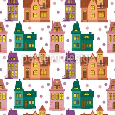 Stadthaus Nahtloses Vektor Muster