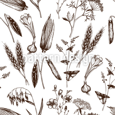 Vintage Plants Pattern Design