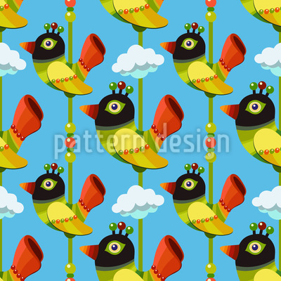 Lustige Cartoon Vögel Nahtloses Vektor Muster