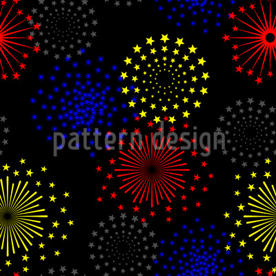 Spectacular Fireworks Seamless Vector Pattern