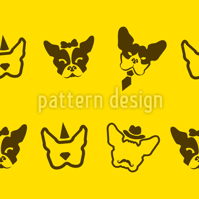 French Bulldogs Seamless Vector Pattern