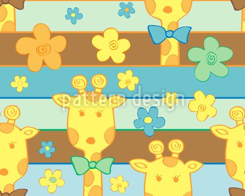 Giraffes in the Flowerbed Pattern Design