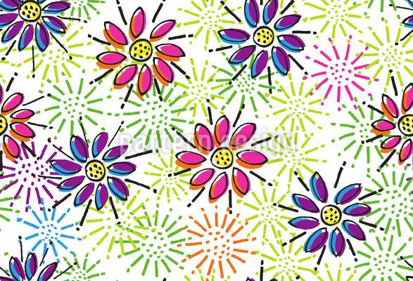 Freude Bringende Blumen Vektor Ornament