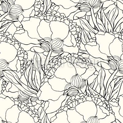 Jugendstil Flowers Vector Ornament