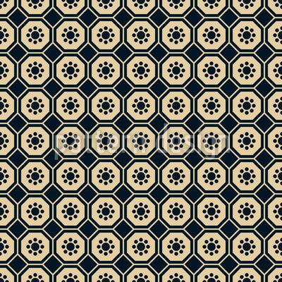 Chinesische Blumen Hexagon Nahtloses Muster
