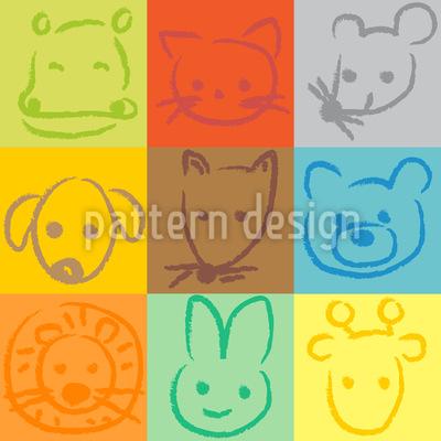 Tiere Im Quadrat Nahtloses Vektor Muster