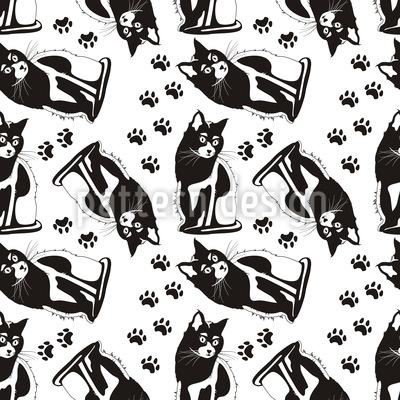 Katzen Auf Wache Muster Design