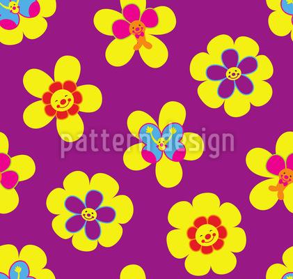 Freundliche Blumen Vektor Muster