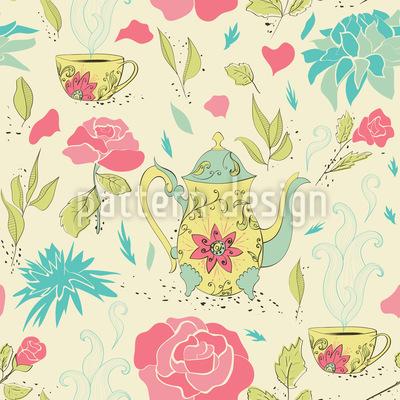 Tee-Party Im Garten Vektor Muster