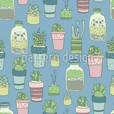 Potted Plants Collection Seamless Pattern