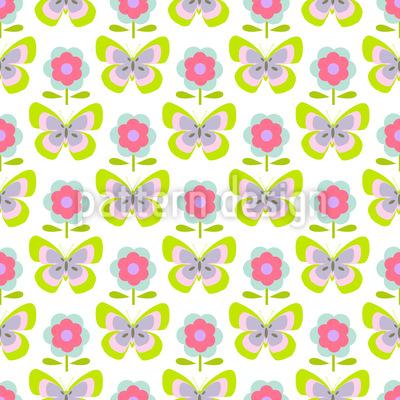 Retro Schmetterlinge Und Blumen Vektor Ornament