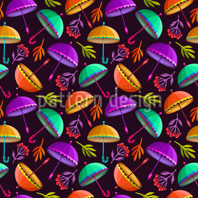 Flying Umbrellas Vector Pattern