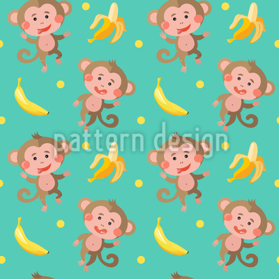 Funny Monkeys With Bananas Repeat Pattern