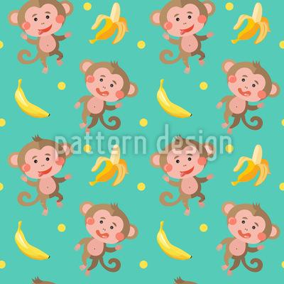 Lustige Affen mit Bananen Rapportmuster