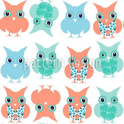 Fancy Owls Seamless Vector Pattern