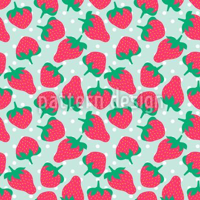 Erdbeeren Mit Zucker Vektor Muster