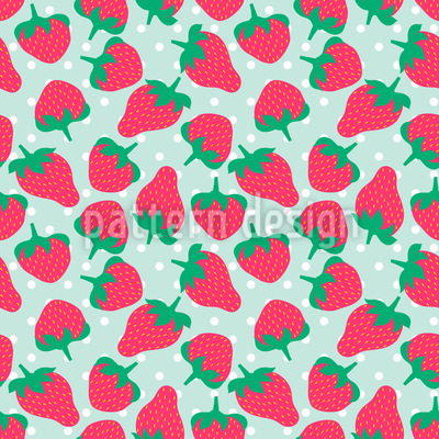 Strawberries With Sugar Vector Pattern