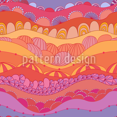 Waves And Shells Seamless Pattern