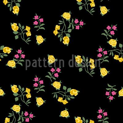 Streublumen Auf Schwarz Nahtloses Vektor Muster