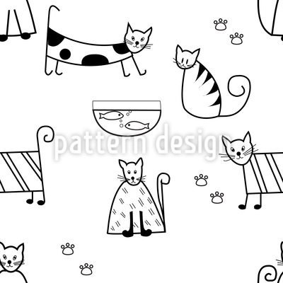 Funny Cats Vector Pattern