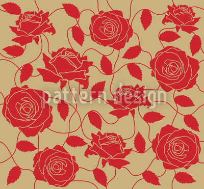 Briar Rose Red And Brown Pattern Design