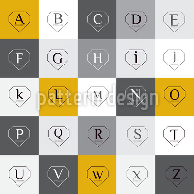 Letters In Diamond Shapes Repeating Pattern
