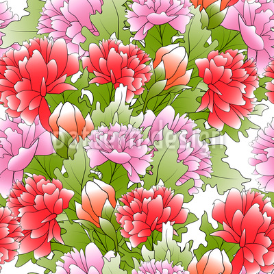 Bouquet Of Peonies Seamless Vector Pattern