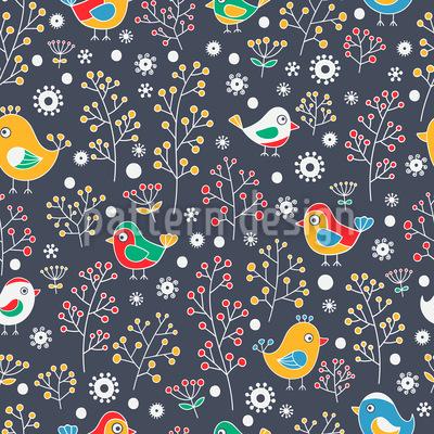 Vögel Lieben Beeren Musterdesign