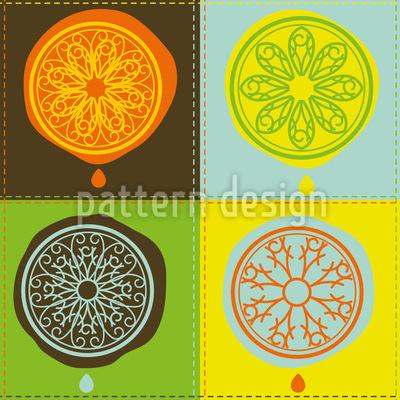 Zitrus Patchwork Muster Design