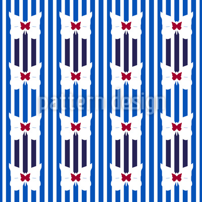 Stripes And Butterflies Vector Pattern