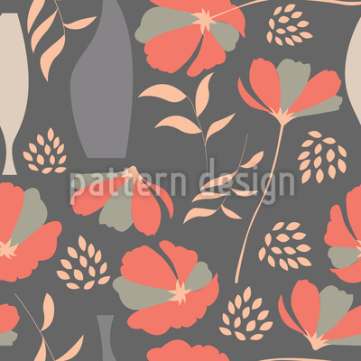 Poppies And Vases Seamless Pattern